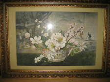 Large(30x42) Framed Asian Picture with Bowl of Flowers and Background Figures