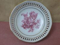 Germany Vintage Porcelain Floral Reticulated Pierced Bowl Gold Trim