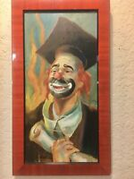 "Persona Original Clown Painting Oil On Wood Nicely Framed Signed 18"" X 10"""