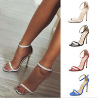 Womens Sandals Ankle Strap Leather Open Toe Very High Slim Heels Shoes Nightclub