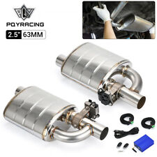 """304SS 2.5"""" Outlet 63MM Inlet Exhaust Muffler Weld Electrical Valve Control Kit"""