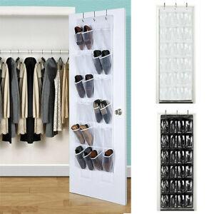 24 Pockets Shoe Holder Bag Organiser Over Door Hanging Shelf Rack Storage Bag