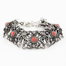 Antique Vintage Victorian Sterling 800 Silver Etruscan Coral Filigree Bracelet