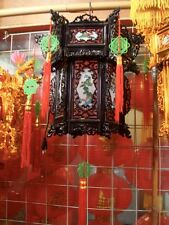 2 CHINESE XXL 36cm BLACK RED LUCKY DRAGON PALACE LANTERN LIGHT PARTY DECO A2