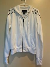 Kardashian Collection White Studded Front Zip Hoodie SZ MED