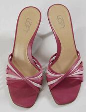 Ann Taylor Loft Womens Shoes Heels Slides Sandals Pink Multi 5M Strappy Summer