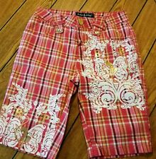 Girls Size Baby Phat Plaid Shorts Size 12 Rhinestones Gold Accents New Casual