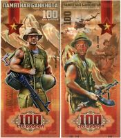 Russia 100 rubles 2019, War in Afghanistan, Souvenir polymer banknote, UNC