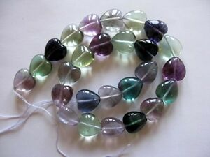 Multi fluorite heart beads 14mm. Natural gemstone beads. Full strand 15.5''