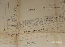 RARE PLAN D'ARCHITECTE 1920 pour CARROSSERIE AUTOMOBILE   E. LEROY à COURBEVOIE