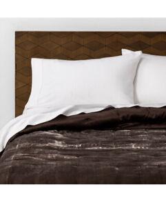 New Opalhouse Brown Tufted Velvet Rayon Blend Full/Queen Quilt & Shams 3pc