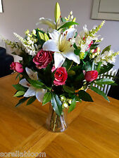 LARGE ARTIFICIAL FLOWERS VASE ARRANGEMENT PINK ROSE, LILY & BAY BOUQUET IN WATER