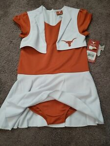 We Are Texas Longhorns Pom Pom Cheer Uniform Youth Medium 8-10 Halloween Costume