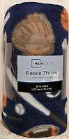 "Mainstays SPORT Blanket Throw 50"" x 60"" Blue Fleece Baseball Football Basketball"