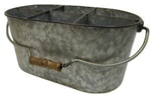 Industrial Galvanized Metal Divided Rectangular Caddy Carrier Tote Organizer