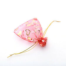 50x Hot Sale Red Heart Shape Organza Pouch Gift Bags Wedding Favors 9x12cm J