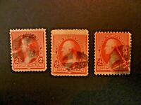 USA 1890 Lot of 3 $.02 Washington #220 Used Fancy Cancel - See Description