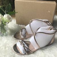Next Size 6 39 BNWB rose gold flat strappy gladiator rope metallic sandals