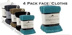 New 4 Pack Cotton Face Towels Soft Cloth Flannels Wash Cloths 30 x 30 cm