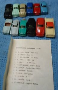 Vintage INGAP Italy Plastic Car Complete Set #1-12 With Paper & Original Box.