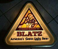 Vintage 1980 BLATZ Milwaukee Lighted Triangle Beer Sign - Works Great!