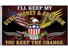 GUNS, MONEY & FREEDOM  3X5' FLAG  GUN RIGHTS  NEW  2nd amendment  NRA  USA