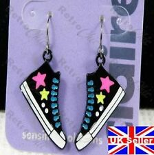 KITSCH vintage 80s TRAINERS drop EARRINGS hot pink star BLACK punk emo SHOE boot