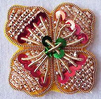 6 Hand-Beaded Appliques. Gold, Red, Green. Sequins & Bullion. Quatrefoil Trim