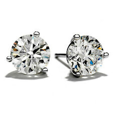 2.10CT 14K White Gold Authentic Round Enhanced Diamond Martini Stud Earrings