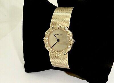 Womens Estate Jaeger Lecoultre 18k Solid Gold Bamboo Pattern Bracelet Watch,runs