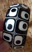 fashion Bracelet Plastic Black & White Carved Arched Rhinestone Geometric