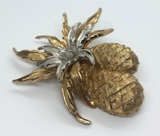Vintage Brooch Pin Signed Napier Gold Tone Pineapple Two Tone