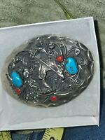 Gorgeous Native American Southwestern Turquoise And Coral Belt Buckle