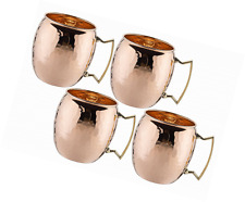 4 Moscow Mule Mug Cup Drinking Hammered Copper Brass Steel Gift Set 16 Oz