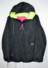 Columbia Nylon Hooded Jacket Black w/Lime/Pink Pullover Side Zip Vents Men's XL