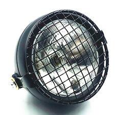 Black Grill Motorcycle Headlight Head Light Lamp Bobber Old School Cafe Racer XL