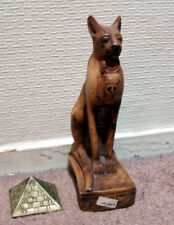 Egyptian God Bastet Statue with small Pyramid. Made in Egypt.
