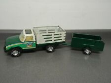 Vintage Nylint Farms Chevy Chevrolet Luv Diesel Truck Metal Toy w/ Trailer