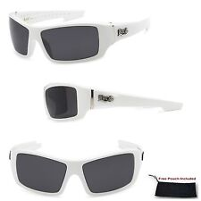 Mens LOCS Biker Lowrider Cholo Style Tall White Sports Wrap Frame Sunglasses