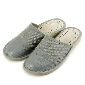 Womens Ladies Leather Slippers GREY Mules Sandals ALL SIZES