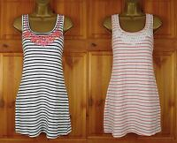 NEW EXCHAINSTORE STRIPED WHITE NAVY COTTON SUMMER TUNIC TOP DRESS UK SIZE 6 10