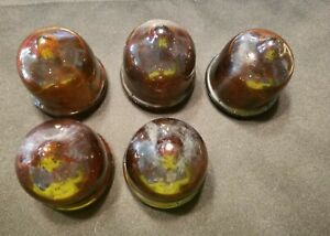 5 Vtg RECO AMBER COLOR GLASS LIGHT MARQUEE SIGN LENS COVERS DOME THEATER - BK