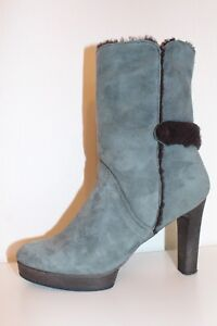STRENESSE BLUE LEDER Stiefeletten HIGH HEEL Stiefel Wildleder Ankle BOOTS 40 UK7