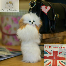 Australia International London UK Fun Fluffy Fur Keyring Toy White Dog Charm Bag
