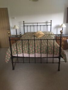 Victorian Antique Brass Cast Iron Double Bed