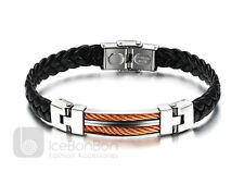 Men's Stainless Steel Rose Gold Tone Braided Leather Bracelet Cuff - USA Seller