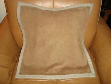 Williams Sonoma Home Suede Pillow Cover with Linen Backing Umber 20""