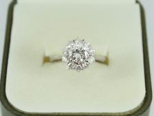 Diamond Cluster Ring 18ct White Gold Ladies 1.35ct Size K 750 3.8g Ey76