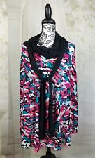 Catalina women's camouflage print Cape size m tie collar stretch knit wrbb