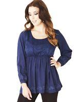 Ladies UK Plus Size 20 - 22 Navy Blue Babydoll Lace Tunic Top